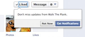 Antiguo desplegable suscripción fans de facebook