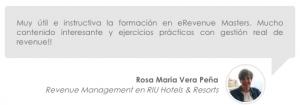 Opinión de los cursos de revenue management de erevenue Masters de Rosa Maria Vera Peña