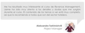 Opinión de los cursos de revenue management de erevenue Masters de Aleksandre Tarkhnishvili
